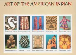USA-Etats-Unis**ART INDIEN-FEUILLET 10vals-2004-NAVAJO-PUEBLO-SEMINOLE-POUPEES-PORCELAINE-DOLLS-POTTERY-BASKETS - United States