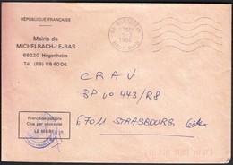 France Hegenheim 1986 / Mairie De Michelbach Le Bas - Marcophilie (Lettres)