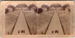 CHINE CHINA MINISTRE PEKIN PORTE Sacrée PHOTOS STEREO SUR CARTON 1900 UNDERWOOD ( - Chine