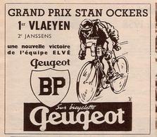 Publicité PEUGEOT Cyclisme Grand Prix Stan Ockers 1958 - Vieux Papiers