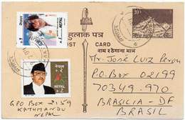 NEPAL 1994. Entire Postal Card Of 30P With Additional Postage From Kathmandu To Brasilia, Brazil - Nepal