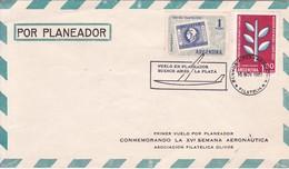 FIRST FLIGTH. CONMEMORANDO LA XVI SEMANA AERONAUTICA.VUELO EN PLANEADOR BUENOS AIRES-LA PLATA. BUENOS AIRES 1961.- BLEUP - Airmail