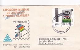 EXPO MUNDIAL LITERATURA Y PRENSA FILATELICA PRENFIL 88. SIDA STAMP AVEC BORD DU PLAQUE.OBLIT AVELLANEDA 1993.- BLEUP - Disease