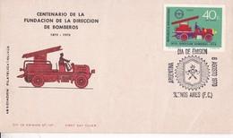 FDC. CENTENARIO FUNDACION DIRECCION DE BOMBEROS 1870-1970. OBLITERE BUENOS AIRES. ARGENTINA- BLEUP - FDC
