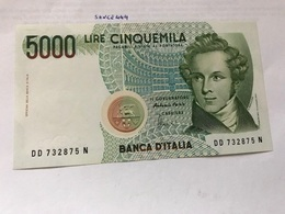 Italy Bellini Uncirculated Banknote 5000 Lira #3 - [ 2] 1946-… : Republiek