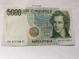 Italy Bellini Uncirculated Banknote 5000 Lira #2 - [ 2] 1946-… : Républic