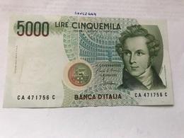 Italy Bellini Uncirculated Banknote 5000 Lira #2 - [ 2] 1946-… : Repubblica