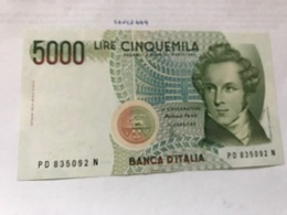 Italy Bellini Uncirculated Banknote 5000 Lira #4 - [ 2] 1946-… : Républic