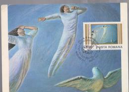 ART, PAINTING MAXI CARD  ROMANIA 1982, PAINTER SABIN BALASA, PAINT ``RELAY Of PEACE ``, SPECIAL CANCEL FIRST DAY - Art