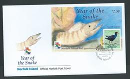 Norfolk Island 2001 Chinese New Year Snake MS On Official FDC - Norfolk Island