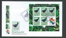 Norfolk Island 2001 Tarler Bird Sheet Of 5 With Hong Kong Label On Official FDC - Norfolk Island