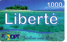Nouvelle Caledonie Liberte Telecarte Phonecard Prepayee Prepaid Ut. 1000 F Meilleurs Voeux 2006 Ilot Plage Ut Used  TBE - New Caledonia