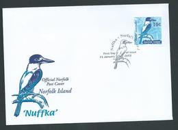 Norfolk Island 2002 Nuffka Kingfisher 10c Booklet Stamp On Official FDC - Norfolk Island
