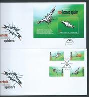 Norfolk Island 2004 Spiders Set 4 & Miniature Sheet On 2 Official FDC - Norfolk Island