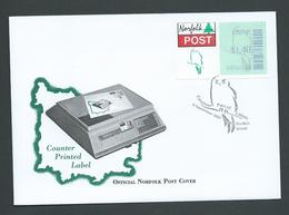 Norfolk Island 2001 $1.40 Counter Printed Label On Official FDC - Norfolk Island