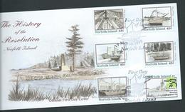 Norfolk Island 1999 Ship Resolution History Booklet Stamps Set 5 & Label On Official FDC - Norfolk Island