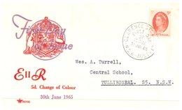 (70)  Australia FDC Cover - 1965 - Royal - 5d Queen - Premiers Jours (FDC)