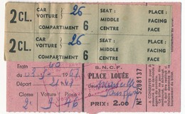 """Réservations SNCF / Wagons Lits COOK - Cartes De Participation Au Voyage Accompagné """"Aux Deux Rives Du Niagara"""" Mai 1967 - Titres De Transport"""
