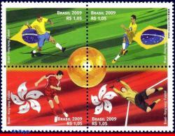 Ref. BR-3114 BRAZIL 2009 FOOTBALL-SOCCER, JOINT ISSUES - HONG KONG, SPORT - SET MINT MNH 4V Sc# 3114 - Brasilien