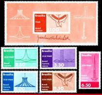 Ref. BR-907-8+C95+ BRAZIL 1960 ARCHITECTURE, INAUGURATION OF BRASILIA,, J.KUBITSCHEK,PRESIDENT, MNH 6V Sc# 907-8+C95+ - Persönlichkeiten