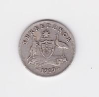 3 Pence 1919 Australie Argent  TB à TTB - Sterling Coinage (1910-1965)