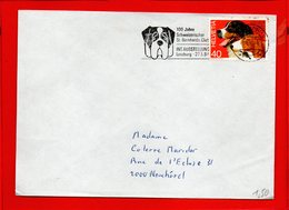 SUISSE, Lettre De Lenzburg Pour Neuchatel, Flamme 100 Ans Du St Bernard Club, 27-05-1984 - Suisse