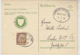 Seepost HAMBURG-HELGOLAND  9.2.38 Unfallschutzkarte - Deutschland