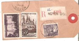 Etiquette D'échantillon Recommandée TP. 883-917-924 NOYON Du 10/7/1953 V/SCLESSIN-LIEGE - France