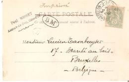 """CP (Exp.d'AIGNAY-LE-DUC) TP. N° 111 CHALONS-S-SEINE 1901 V/Bruxelles Maque Ovale """"BM"""" - 1900-29 Blanc"""