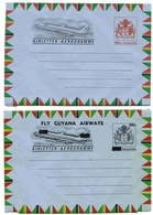 Guyana Aérogramme (X2) Carte Géo Map Aerogram Air Letter Entier Entero Ganzsache Lettre Carta Belege Airmail Cover - Guyana (1966-...)