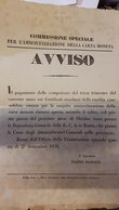 PONTIFICIO Commissione Speciale Per L'ammortizzazione Della Carta Moneta Avviso Roma 27 09 1856 Doc.281 - Italy