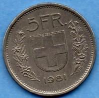 (r65)  SUISSE / SWITZERLAND  5 FRANCS  1981 - Switzerland