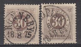 ZWEDEN - Michel - 1872 - Nr 24A (T/D: 14) + 24B (T/D 13:13 1/2) - Gest/Obl/Us - Suède