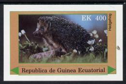 881 Equatorial Guinea 1977 European Animals (Hedgehog) 400ek Imperf M/sheet Unmounted Mint - Stamps