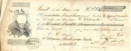 Lettre De Change, Lorient ( Voir Lithographie), 1839, Voir Cachets Et Timbres à Sec, Nantes MaisonMarion Chabosseau... - Cambiali
