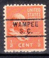 USA Precancel Vorausentwertung Preo, Locals South Carolina, Wampee 729 - Vereinigte Staaten