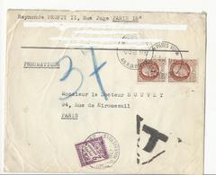 Lettre Envoyée En PNEUMATIQUE - Paris, 1943 - Affranchie à 3 Frs Et Taxée à 2 Frs - 1859-1955 Storia Postale