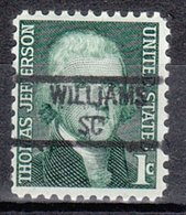 USA Precancel Vorausentwertung Preo, Locals South Carolina, Williams 841 - Vereinigte Staaten