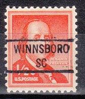 USA Precancel Vorausentwertung Preo, Locals South Carolina, Winnsboro 841 - Vorausentwertungen