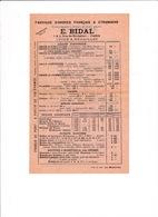 Tarifs Ordres, Croix, Médailles, Maison E. Bidal, 3 Rue De Richelieu, Paris, Années 1910-1920 - Militaria