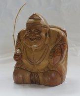 "Wooden Statuette "" Ebisu "" - Asian Art"