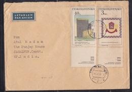 CZECHOSLOVAKIA, 1968,  Airmail Cover To India With 2 Stamps, Praga 1968 + Tabs + 1 Label,  # 325 - Tschechoslowakei/CSSR