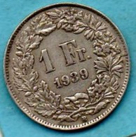 (r65) SUISSE / SWITZERLAND  1 FRANC  1939 B  Silver / Argent - Switzerland
