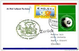 """119 - 13 - Enveloppe Allemande Avec  Oblit  """"vol Spécial Lufthansa Frankfurt-Seoul - 50 Jours Avant L'ouverture - 2002 – Corea Del Sur / Japón"""