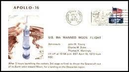 USA: 'Apollo-16 In Space - Launch, 1972', Kennedy Space Center - Briefe U. Dokumente
