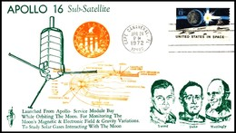 USA: 'Apollo-16 In Space - Lunar Landing - Sub-satellite PFS-2, 1972', Cape Canaveral - Briefe U. Dokumente
