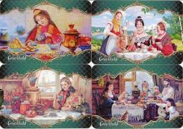 Pocket Calendar Russia - 2018 - Set 8 Pcs. - Greenfield Tea - Tea Drinking - Samovar - Woman - Family - Advertising - Vi - Small : 2001-...