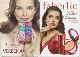 Pocket Calendar Russia - 2014 -  2 Pcs. - Cosmetics - Faberlic - Advertising - Woman - Beautiful - Small : 2001-...
