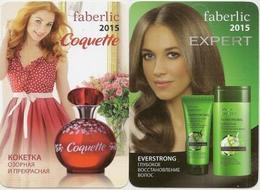 Pocket Calendar Russia - 2015 -  2 Pcs. - Cosmetics - Faberlic - Advertising - Woman - Beautiful - Small : 2001-...