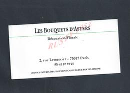 CDV CARTE DE VISITE LES BOUQUETS D ASTERS DÉCORATION FLORALE PARIS RUE LEMERCIER : - Visiting Cards